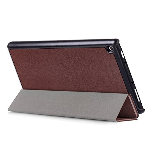 Case for All-New Amazon Fire HD 8 Tablet (7th Generation, 2017 Release), SAVYOU Ultra Slim Lightweight Folio Tri-fold Stand Protective Cover for Fire HD 8 Tablet (2017 7th Generation) BROWN