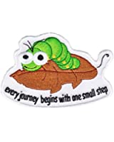 """Animal Patch - Caterpillar Leaf """"Every Journey Begins w/ One Small Step"""" Applique"""