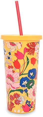 Ban.do Floral Insulated Sip Sip Travel Tumbler with Reusable Silicone Straw, 20 Ounces, Superbloom