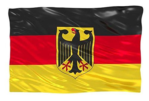 Deutschland Flagge mit Adler 90x150 cm, EM / WM Fahne aus Stoff mit doppelt umsäumten Fahnenrand, 2 Messing-Ösen zum Hissen, für Fahnenmast, Deutsche Nationalflagge, Fußball Fanartikel Europameisterschaft 2020