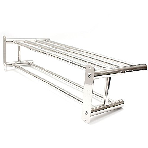 Amazon.com: Stainless Steel Double Layer Towel Rail Wall Mounted Bathroom Storage Shelf Rack Clothes Holder // El acero inoxidable doble pared del toallero ...