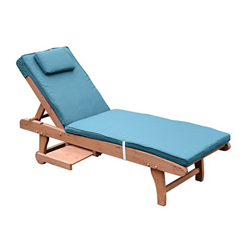 Outsunny Fir Wood Wooden Sun Lounger Beach Outdoor Garden Patio Sunbed Recliner Chaise Chair w/ Wheels Side Drink Tray Cushions (Peacock Blue)