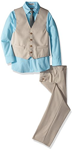 Kenneth Cole Boys' Big 4-Piece Dresswear Vest Set, Natural Linen, 16