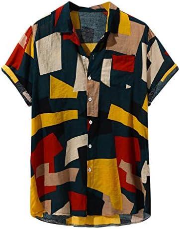 Wadonerful-men Button Blouse Hawaiian Shirts Lapel Short Sleeve Printed T-Shirt Summer Casual Tee Tops