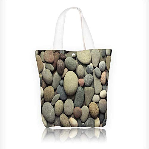 Price comparison product image Canvas Beach Bags Sea pebble sea stones background Totes for Women Zippered Beach Shoulder Bag W16.5xH14xD7 INCH
