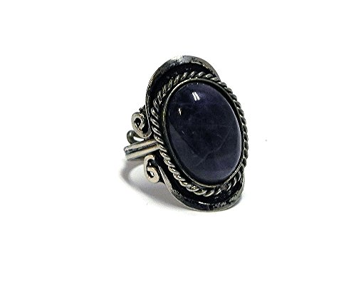 Mia Jewel Shop Natural Semi Precious Oval Shaped Gemstone Silver Rope Edge Adjustable Ring (Purple Amethyst)