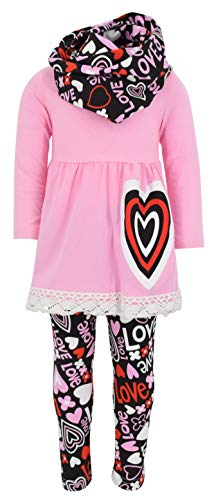 Unique Baby Girls Valentine's Day Outfit Layered Heart Crotchet (7/XXL, Pink)