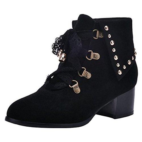 bottines Bottes lacets à moyen COOLCEPT noir à cheville talon avec la et 8dwvq