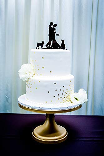 - *MADE IN USA* With Any TWO Pet DOGS of your Choice + Bride and Groom Wedding Cake Topper, 48 Different Dogs To Choose From, Silhouette Wedding Cake Topper with Two Dogs