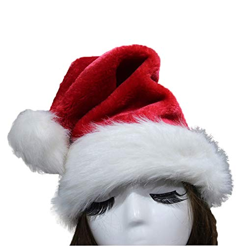 SHEING Santa Hat Plush Velvet & Comfort Liner Thickened Christmas Hat for Adults (Traditional Red) (Pack of -