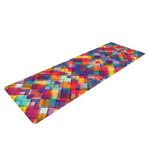 Kess InHouse Danny Ivan Squares Everywhere Yoga Exercise Mat, Rainbow Shapes, 72 x 24-Inch