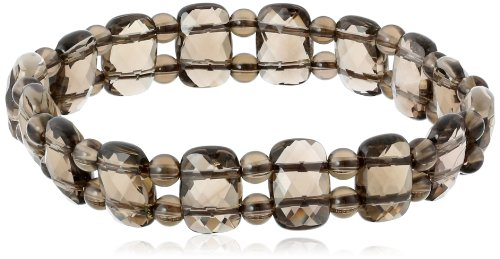 Smoky-Quartz Rectangle and Round Bead Stretch Bracelet, - Quartz Beads Rectangle
