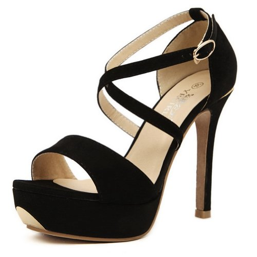 AmoonyFashion Womens Open Toe High Heel Stiletto Platform Frosted PU Solid Sandals with Ankle Cuff Black PDrCbnxnIx
