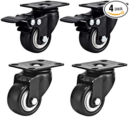 """8 Pack 5/"""" Swivel Caster Wheels Rubber Base with Top Plate /& Bearing Heavy Duty"""