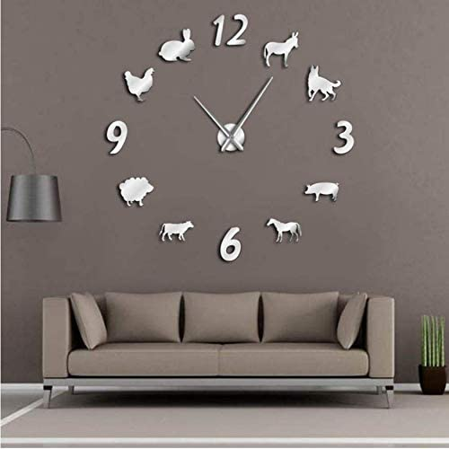 Amazon Com Mmluck Animals Diy Giant Wall Clock Kid Room Decorative Wall Watch Forest Farm House Wall Decor Frameless Large Wall Clock Silver 37inch Home Kitchen
