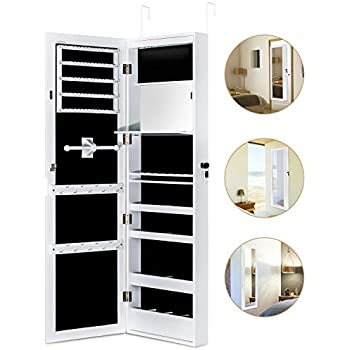 Amazoncom Jewelry Cabinet Armoire with Mirror Led Light Wall Door