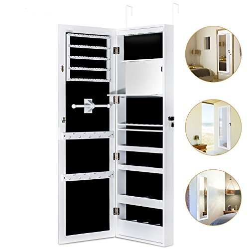 Jewelry Cabinet Armoire with Mirror Led Light Wall Door Mounted Organizer Storage,White (Shelves Mirrored Box)