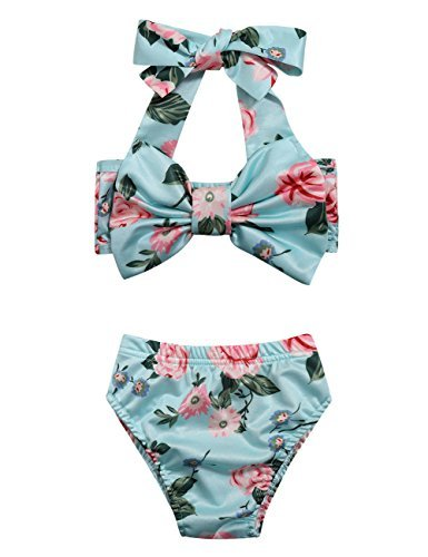 Gprince Cute Baby Girl Floral Bow Halter Bikini Set Two Piece Swimsuit Swimwear - Top Missguided