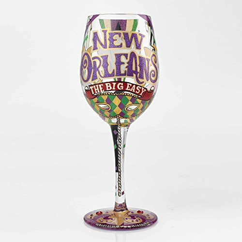 (New Orleans Big Easy Glitter 15 Ounce Handpainted Wine Glass)