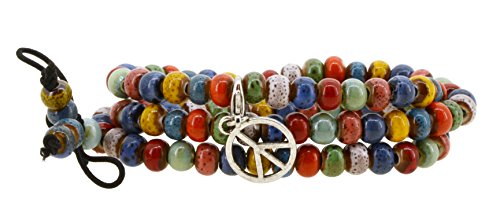 Chinese Peace Sign (Women Men Multi Color Porcelain Elastic Tibetan Buddhist 108 Worry Prayer Beads Mala Bracelet Necklace (Peace)
