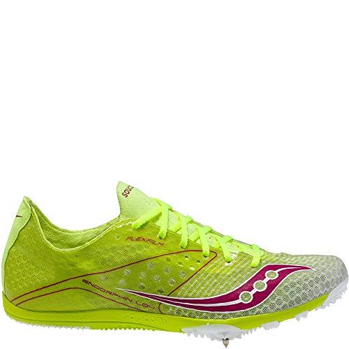 (Saucony Women's Endorphin LD4 Track Shoe,Citron/White/Pink,9 M US)