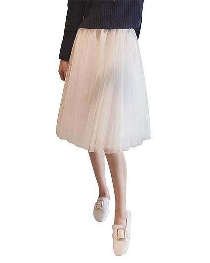 Mujer Midi Falda De A Line Casual Color Sólido De Cintura Elástica ...