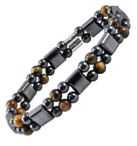 Men's Magnetic Therapy Tiger's Eye Hematite Bracelet, Magnetic Bracelet, 8 Inches, Health Care Stuffs