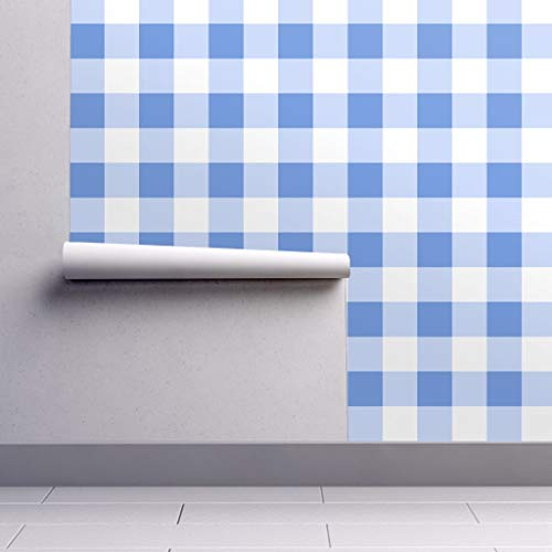 Peel-and-Stick Removable Wallpaper - Cornflower Three Inch Cornflower Blue Plaid Cornflower Blue White by Mtothefifthpower - 24in x 144in Woven Textured Peel-and-Stick Removable Wallpaper ()