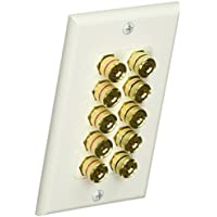Monoprice 103539 Banana Binding Post Two-Piece inset Wall Plate for 5 Speakers
