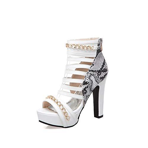 blanc blanc blanc HommesGLTX Talon Aiguille Talons Hauts Sandales Nouvelle Mode Grande Taille 34-50 Sandales D'été De Mariage Femmes Chaussures Chaussures Les Les dames à Talons Hauts 12 Cm Party Dance Femme Pompes 3393 296
