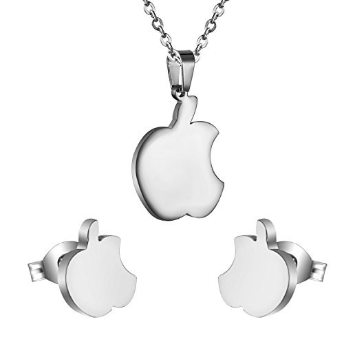 Price comparison product image Apple Jewelry Set Stainless Steel Forbidden Fruit Set Gold and Silver Apple (Silver)