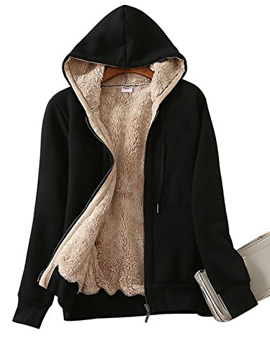 Yeokou Women's Casual Full Zip Up Sherpa Lined Hoodie Sweatshirt Jacket Coat (Large, Black) (Sherpa Hoodie Jacket)