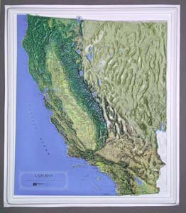Raised Relief Map 21 - California Raised Relief Map NCR Style with BLACK Plastic Frame