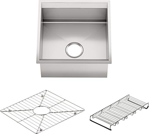 KOHLER K-3671-NA 8 Degree Single-Basin Entertainment Sink with Bottom Basin Rack and Wine Rack ()