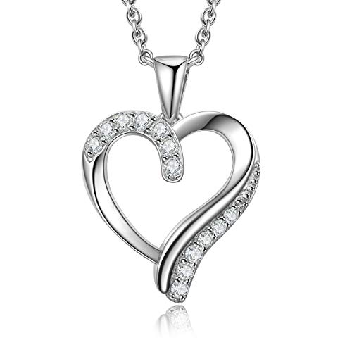 VOUCHON 925 Sterling Silver Forever Lover Heart Pendant Necklace (White Gold)