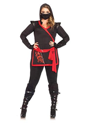 Leg Avenue Women's Plus-Size 4 Piece Ninja Assassin Costume, Black, 1X-2X - Plus Size Women Halloween Costumes