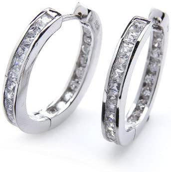 Silvity Damen Creolen Diamant-Strass 925 Stearling Silber