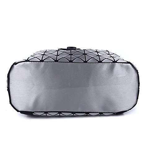 Uniqstore Unisex PU Leather Geometric Backpack Hologram School Bag Luminous Daypack Travel Shoulder Bag (Plata) Plata