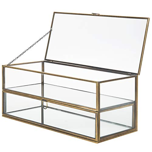 MyGift Vintage Brass Metal & Glass Mirrored Shadow Box Jewelry Display Case (Shadow Metal Box)