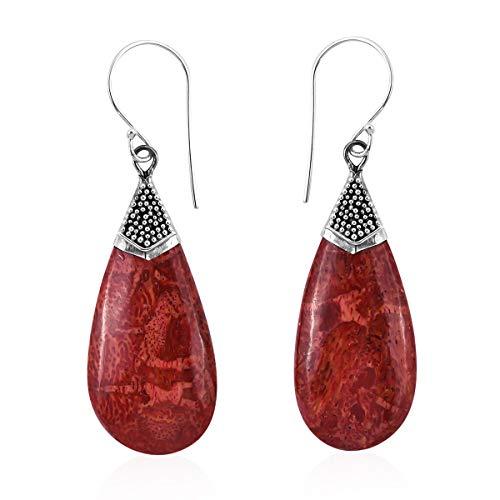Boho Handmade Sponge Coral Dangle Drop Earrings 925 Sterling Silver Jewelry Gift for Women