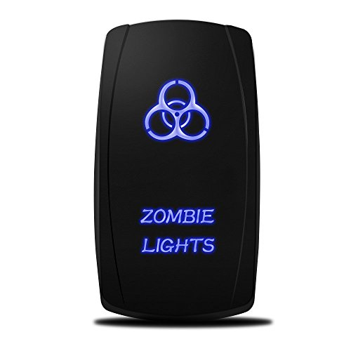 MicTuning MIC-LSZ1, 5 Pin Zombie Rocker Switch On-Off LED Light 20A 12V, Blue