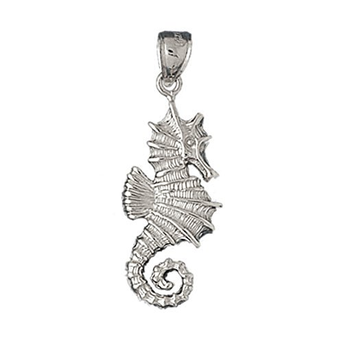 14k White Gold Seahorse Pendant (12 x 38 mm) by K&C
