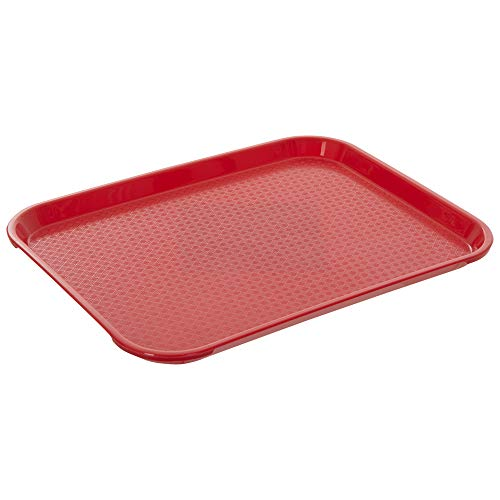 Fast Food Tray 14 x 18 Red Rectangular Polypropylene Serving Tray for Cafeteria, Diner, Restaurant, Food Courts