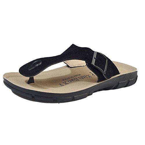 Unisex Adults' Thong Sandals - Women's Flip Flops Men's Open Toe Sandals Black 2 JA33LH71zC