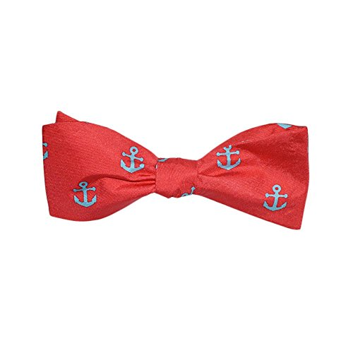 SummerTies Anchor Bow Tie - Light Blue on Coral, Printed Silk, Adult Tie Yourself Bow Tie