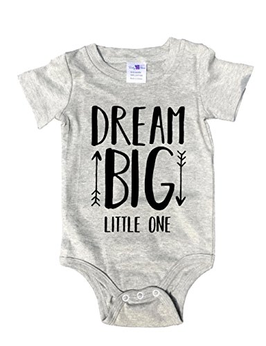 Baby Tee Time Gray Crew Neck Dream Big Little one Authentic One Piece 12-18 ()