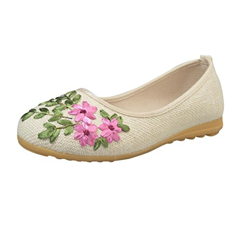 Hunzed Women Summer Flower Flats Embroider Cotton Fabric Casual Shoes Comfort Round Flat Shoes Shoes (36, Beige)