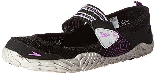 Speedo Women's Offshore Strap Amphibious Water Shoe, Black/Purple, 11 M US