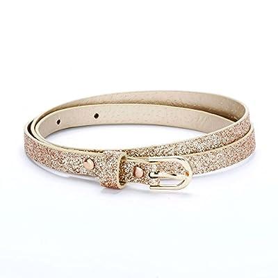 Ultra Skinny Sparkly Belt (M/L (8-14YR), Rose Gold)