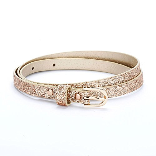 Ultra Skinny Sparkly Belt (M/L (8-14YR), Rose Gold) ()